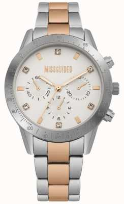Missguided Reloj de mujer de acero inoxidable en dos tonos plateado y oro rosa | MG004SRM