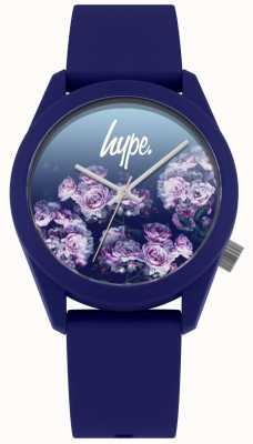Hype | correa de silicona navy | esfera de flores azul marino | HYU010U