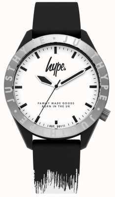 Hype | correa de silicona negra / blanca para hombre | esfera blanca | HYG006BW