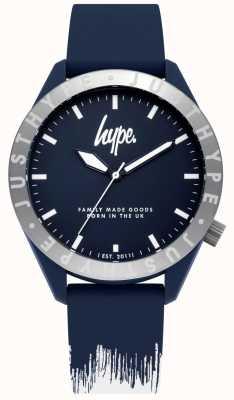 Hype | Correa de silicona para hombre azul / blanco | esfera azul | HYG006UW
