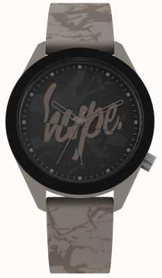 Hype | correa de silicona gris cálido para hombre | esfera negra | HYG005BR