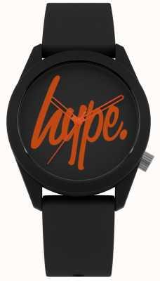Hype | correa de silicona negra | esfera negra y naranja | HYU001BO
