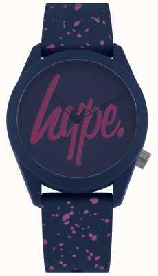 Hype | Correa de silicona de pintura azul marino para mujer | esfera azul marino / púrpura HYL001UP