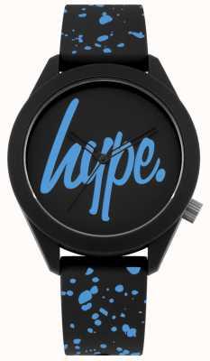 Hype | Correa de silicona negra y azul para hombre | esfera negra / azul | HYG003BU