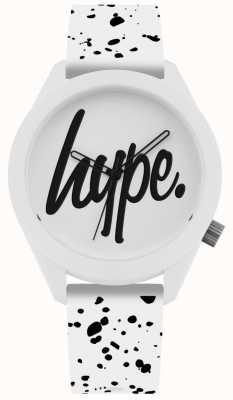 Hype | Correa de silicona negra y negra para hombre | esfera blanca | HYG003W