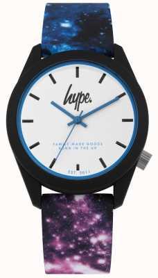 Hype | Galaxia azul y violeta con estampado de silicona | esfera blanca | HYU009BV
