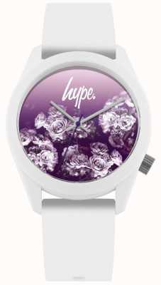 Hype | correa de silicona blanca | esfera de flor morada | HYU010WV