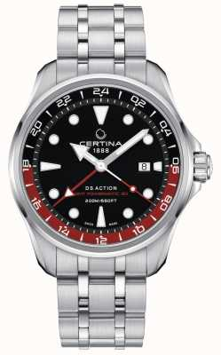 Certina | ds action | gmt powermatic 80 | esfera negra | C0324291105100