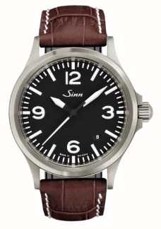 Sinn 556 un cuero de zafiro deportivo marrón en relieve de cuero 556.014 BROWN ALLIGATOR STYLE WHITE STITCH