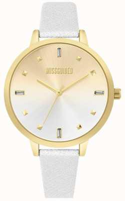 Missguided | correa de cuero blanco de damas | dial de dos tonos | MG020SG