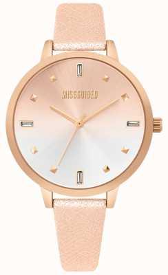 Missguided | reloj de cuero rosa dorado para mujer | dial de dos tonos | MG020RG