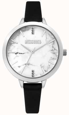 Missguided | reloj de cuero negro damas | esfera de mármol blanco | MG011BS