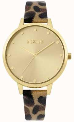 Missguided | correa de leopardo de las señoras | caja de oro y dial | MG003BRG