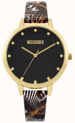 Missguided | correa de impresión multi damas | esfera negra | caja de oro | MG022BG