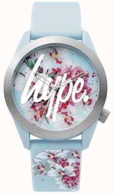Hype | reloj de señoras | correa de silicona azul | esfera floral | HYL022US