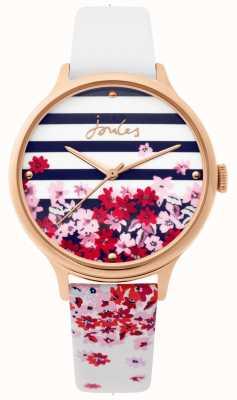 Joules | reloj de señoras | Correa floral de piel blanca | JSL015WRG