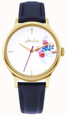 Joules | reloj de señoras | correa de cuero azul | esfera blanca floral | JSL017UG