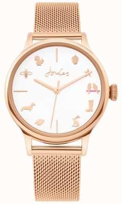 Joules | reloj de señoras | correa de malla de oro rosa | esfera blanca | JSL011RGM