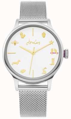 Joules | reloj de señoras | correa de malla de plata | esfera blanca | JSL011SM