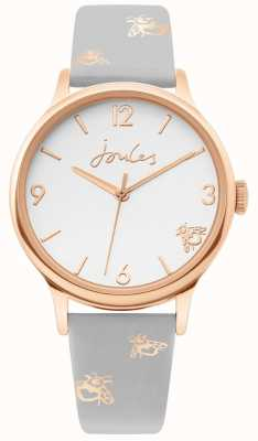 Joules | caja de oro rosa para mujer | correa abejorro cuero gris | JSL016ERG