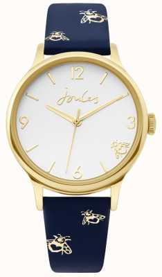Joules | señoras caja de oro | correa de cuero azul con estampado de abejorros | JSL016UG