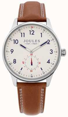 Joules | reloj de la grada de los hombres | correa de cuero color canela | JSG008T