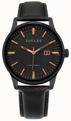 Joules | reloj marfield para hombre | correa de cuero negro | esfera negra | JSG009NB