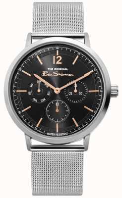 Ben Sherman | reloj de malla de plata para hombre | esfera negra | BS011ESM