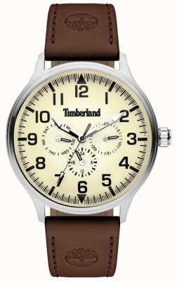 Timberland El | mens blanchard | correa de cuero marrón | esfera crema | 15270JS/14