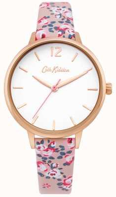 Cath Kidston | reloj hampton para mujer | correa de cuero floral | esfera blanca | CKL067PRG