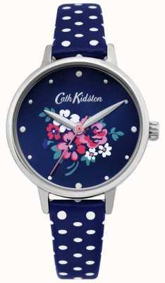 Cath Kidston | reloj de mujer suerte manojo | lunares azul cuero | CKL070U