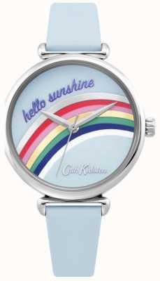 Cath Kidston | reloj arco iris para mujer | correa de cuero azul | dial del arco iris | CKL081U