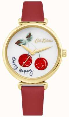 Cath Kidston | reloj mujer cereza feliz | correa de cuero rojo | esfera blanca CKL081RG