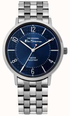 Ben Sherman | reloj de escritura para hombre | pulsera de acero inoxidable | esfera azul BS018USM