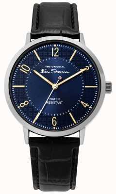 Ben Sherman | reloj de escritura para hombre | correa de cuero negro | esfera azul | BS018B
