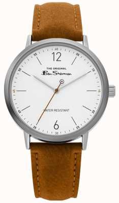 Ben Sherman | reloj de escritura para hombre | correa de color canela | esfera blanca | BS019T