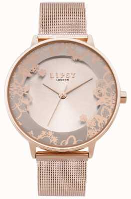 Lipsy | pulsera de malla de oro rosa para mujer | esfera de oro rosa | LP646