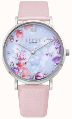 Lipsy | Correa de cuero rosa pálido para mujer | esfera floral | LP656