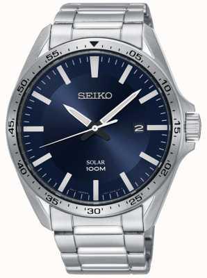 Seiko Esfera azul solar de acero inoxidable para hombre SNE483P1