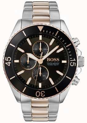 Hugo Boss | edición de mens ocean | acero inoxidable de dos tonos | esfera negra 1513705