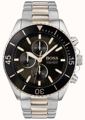 Boss | edición de mens ocean | acero inoxidable de dos tonos | esfera negra 1513705