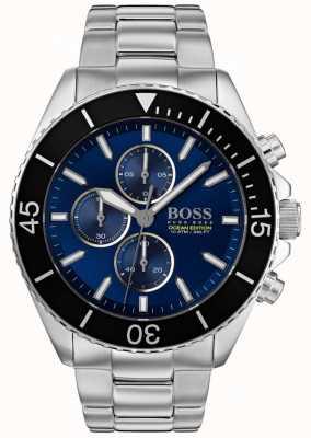 Boss | edición de mens ocean | plata acero inoxidable | esfera azul | 1513704