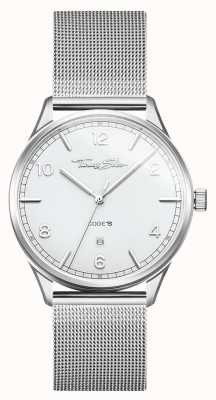 Thomas Sabo | pulsera de malla de acero inoxidable plata | esfera blanca | WA0338-201-202-40