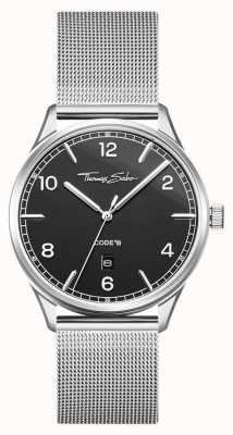 Thomas Sabo | pulsera de malla de acero inoxidable plata | esfera negra | WA0339-201-203-40