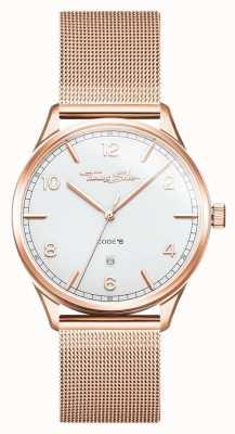 Thomas Sabo | Brazalete de oro rosa de acero inoxidable | esfera blanca | WA0341-265-202-40