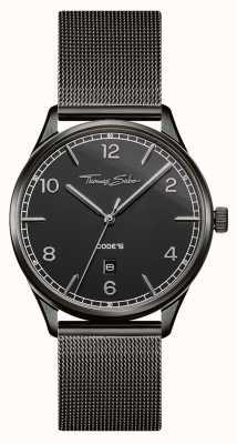 Thomas Sabo El | pulsera de malla de acero inoxidable negro | esfera negra | WA0342-202-203-40