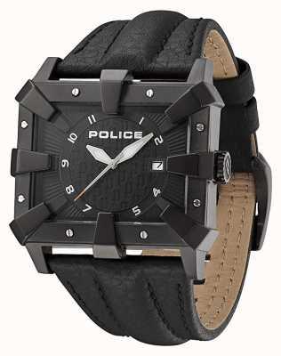 Police Correa de cuero negro para hombre esfera negra PL.93404AEU/02A