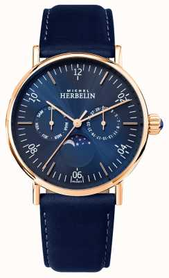 Michel Herbelin Mens montre inspiration moonphase esfera azul correa azul 12747/PR15BL