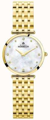 Michel Herbelin Esfera de madre perla chapada en oro con épsilon para mujer 17116/BP89