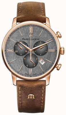 Maurice Lacroix Correa de cuero marrón con esfera cronógrafo Eliros EL1098-PVP01-210-1